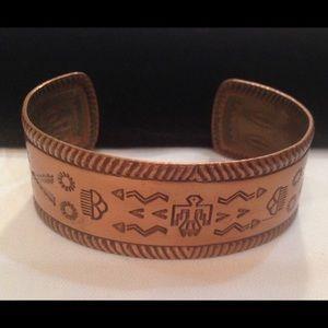 Copper Western Tribal Print Cuff Bracelet